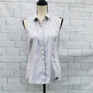 Lafayette 148 new York gray/white sleeveless  top